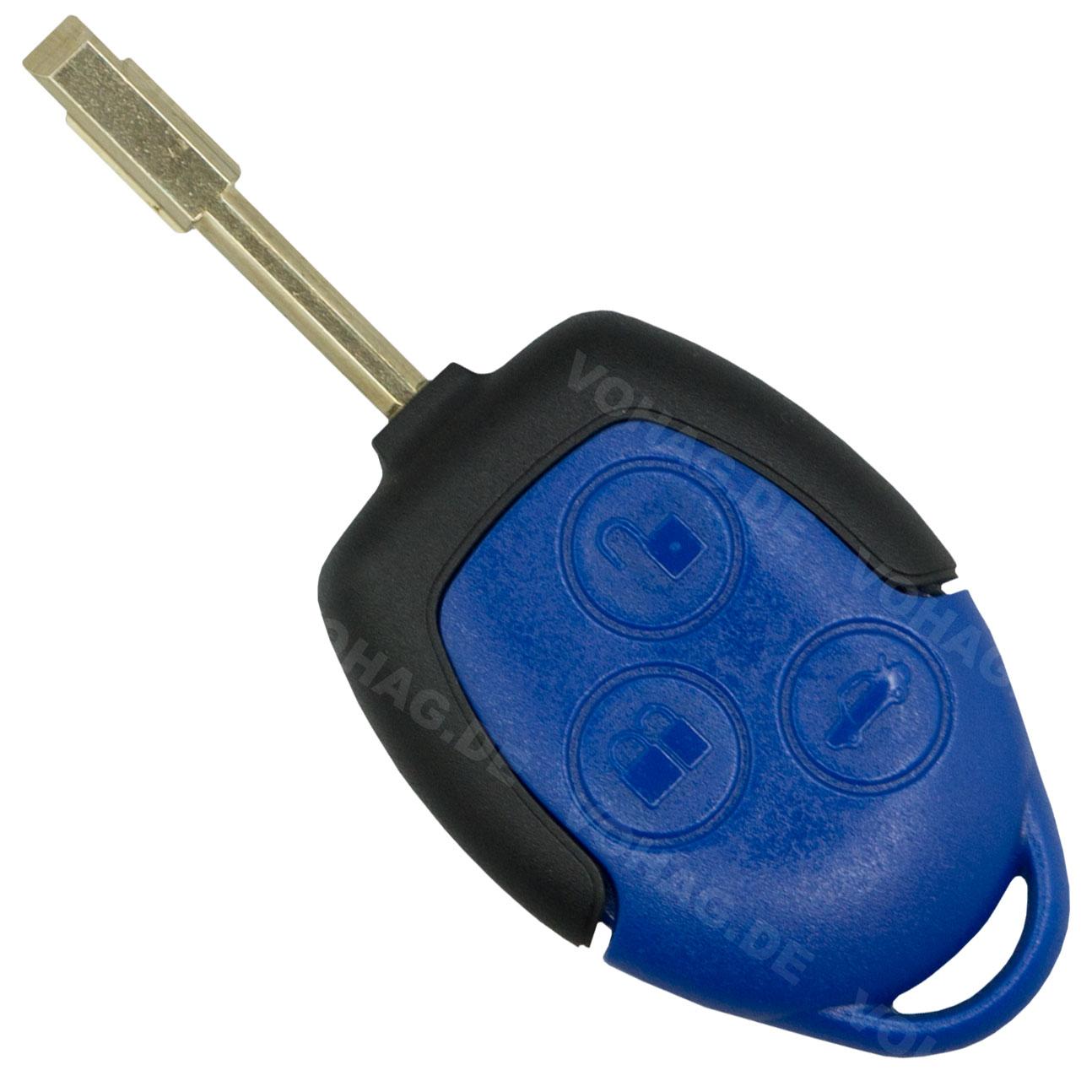 Ford- 3 Tasten Oberteil und Unterteil Schlüssel Blau Gehäuse