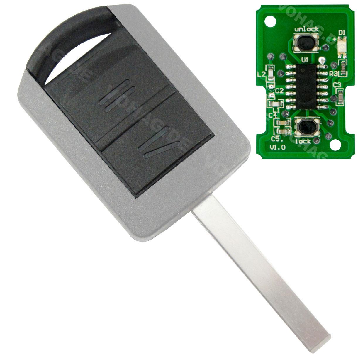 2 Tasten Gehäuse 433 Mhz mit Elektronik für Autoschlüssel