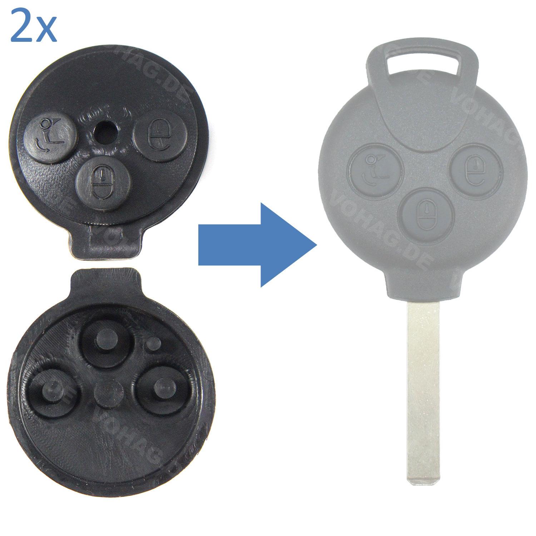 2 st ck smart 451 fortwo schl ssel geh use 3 tasten taste. Black Bedroom Furniture Sets. Home Design Ideas