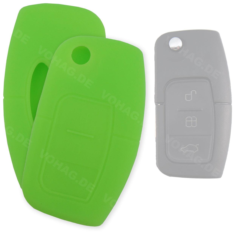 Silikon Hülle für Ford mit 3 Tasten Klappschlüssel in Grün