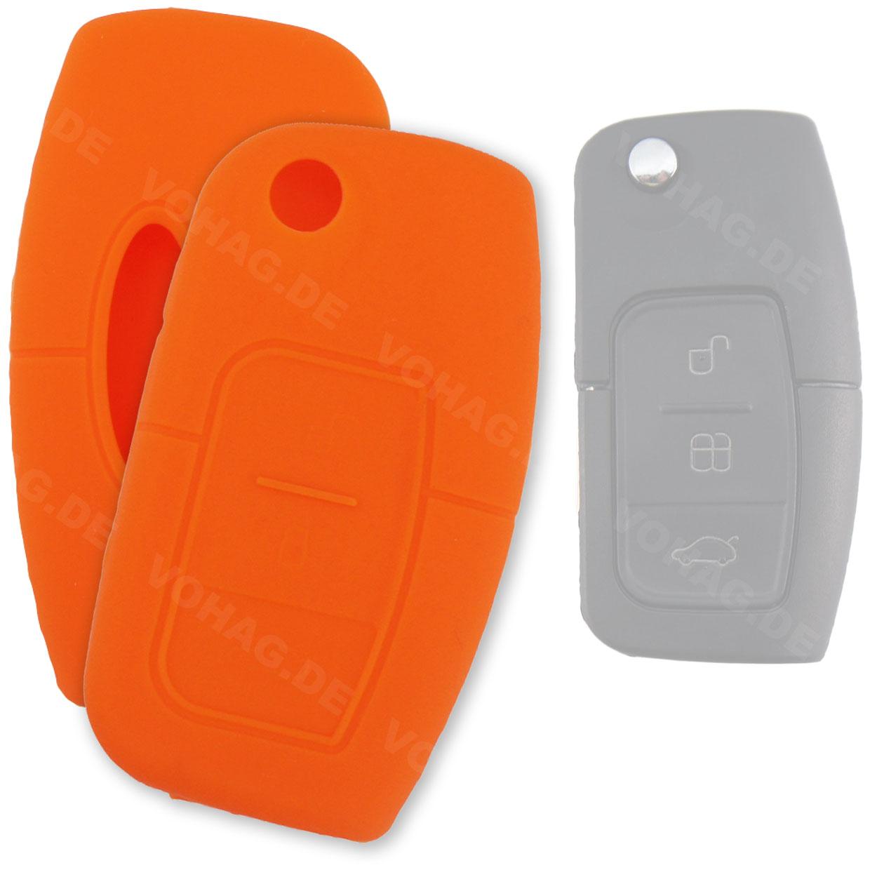 Silikon Hülle für Ford mit 3 Tasten Klappschlüssel in Orange