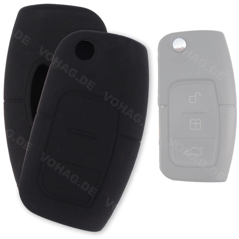 Silikon Hülle für Ford mit 3 Tasten Klappschlüssel in Schwarz