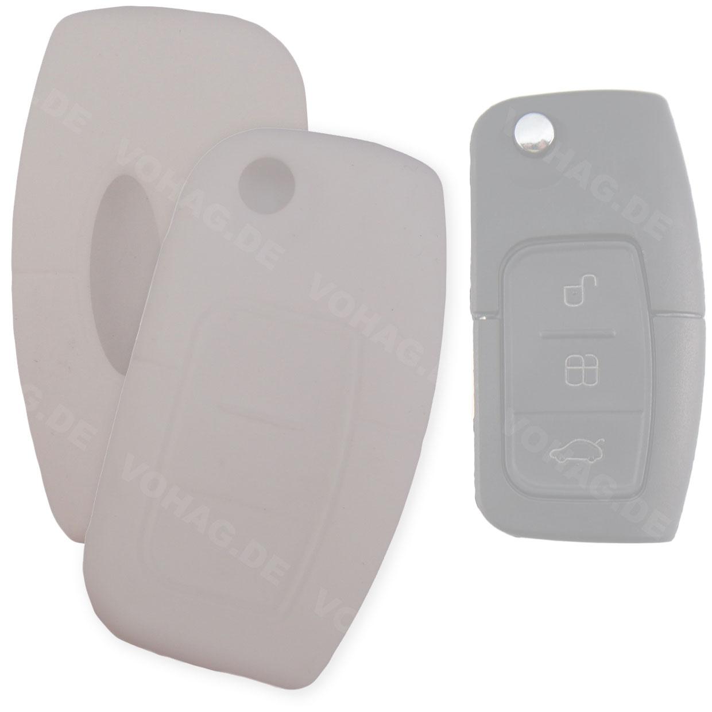 Silikon Hülle für Ford mit 3 Tasten Klappschlüssel in Weiß