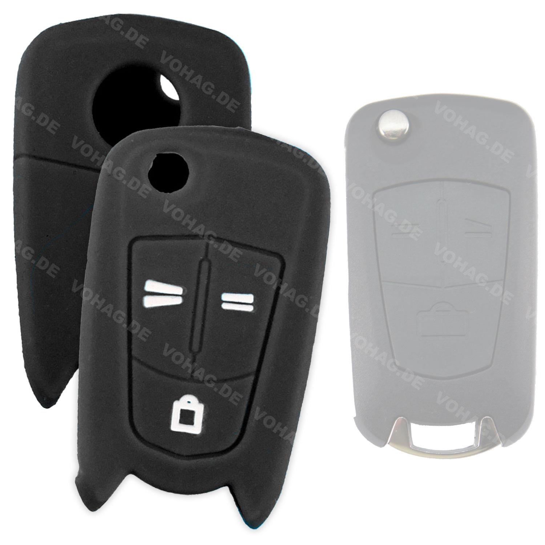 Silikon Hülle für Opel mit 3 Tasten Klappschlüssel in Schwarz