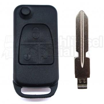 Mercedes Benz mit 3 Tasten Klappschlüssel und Schlüsselrohling HU39