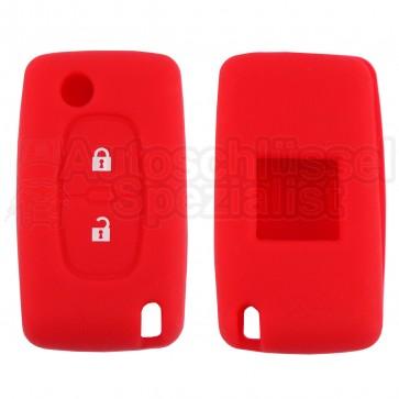 Silikon Hülle für Peugeot / Citroen 2 Tasten Klappschlüssel in Rot