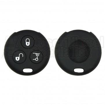 Silikon Hülle für 450 Smart 3 Tasten Autoschlüssel in Schwarz