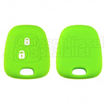 Silikon Hülle für Peugeot oder Citroen 2 Tasten Autoschlüssel in Grün