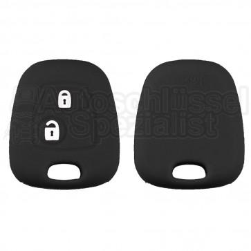 Silikon Hülle für Peugeot / Citroen 2 Tasten Autoschlüssel in Schwarz