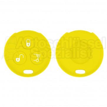 Silikon Hülle für 450 Smart 3 Tasten Autoschlüssel in Gelb