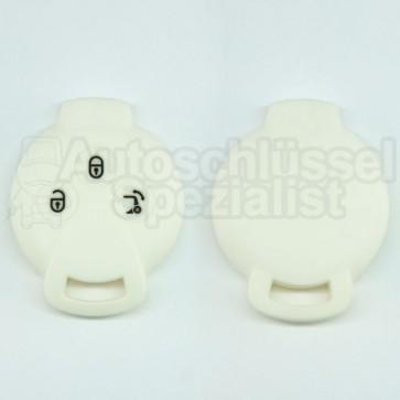 Silikon Hülle für Smart 3 Tasten Autoschlüssel in Weiß