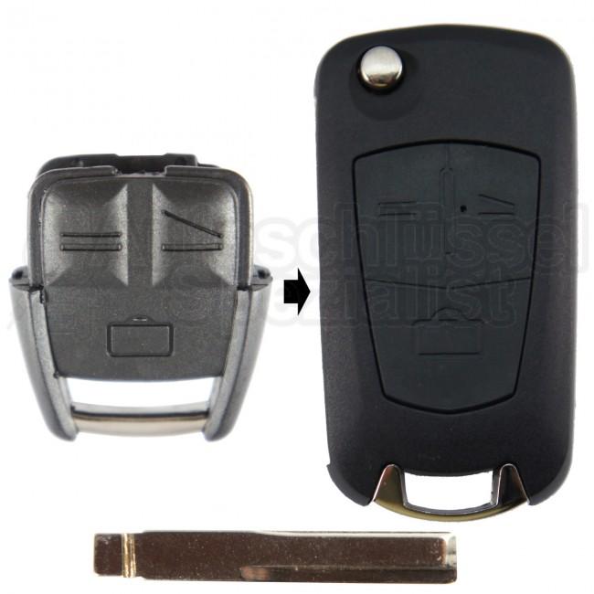 autoschlüssel | opel- 3 tasten umbaukit mit schlüsselrohling hu43