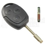 Ford- 3 Tasten Schlüssel mit Tibbe- Rohling + Transponder 4D60