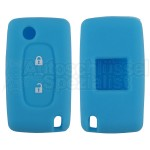 Silikon Hülle für Peugeot / Citroen 2 Tasten Klappschlüssel in Blau