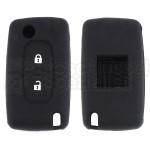 Silikon Hülle für Peugeot / Citroen 2 Tasten Klappschlüssel in Schwarz
