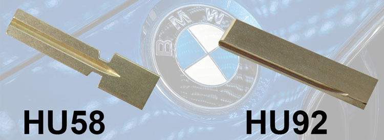 Schlüsselrohling Hu58 und HU92 für BMW